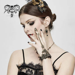 DEVIL FASHION Women's Vintage Lace Matal Bracelets With Chain&Ring (ONLY ONE HAND)