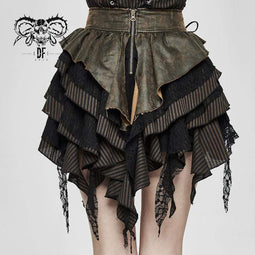 DEVIL FASHION Women's Vintage Lace-up Sashes Ruffles Layered Skirts