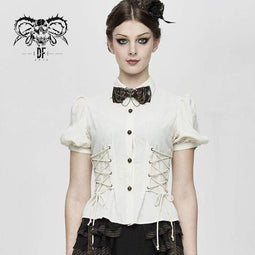 DEVIL FASHION Women's Vintage Lentern Sleeve Lace-up Ivory Shirts