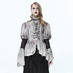 Women's Vintage Punk Frilled Shirt-Punk Design