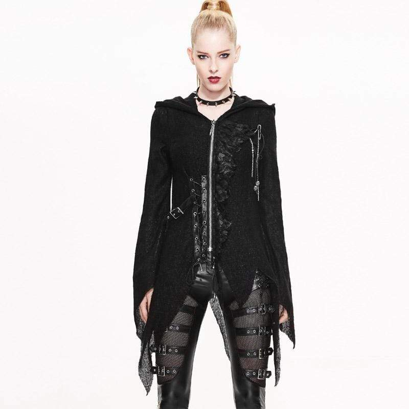DEVIL FASHION Women's Vintage Punk Hooded Top With Leather details