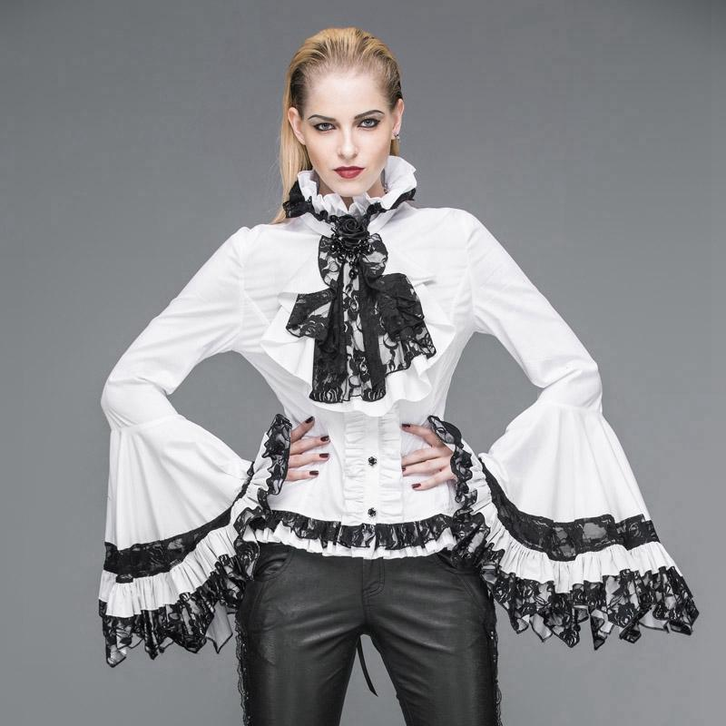 Women's Vintage Short Ruffled Top With Trumpet Sleeves-Punk Design