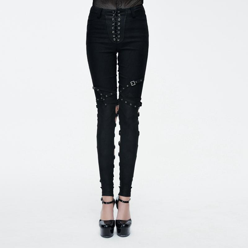 Women's Vintage Trousers with Lacing-Punk Design