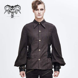DEVILFAHSION Men's Puff Sleeved Stripes Faux Leather Spliced Shirts