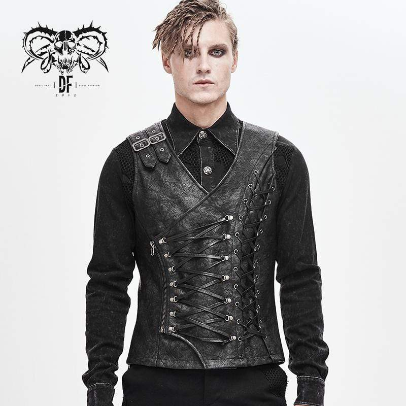 DEVILFASHION Men's Faux Leather Ropes Zipper Fly Waistcoats