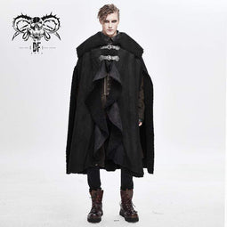 DEVILFASHION Men's Gorgeous Belts Furry Winter Cloaks
