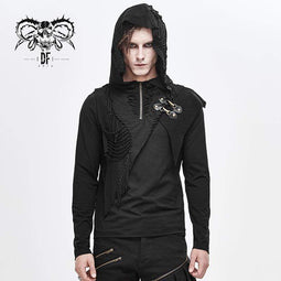 DEVILFASHION Men's Grunge Punk Long Sleeved Cutout Tassel Hoodies