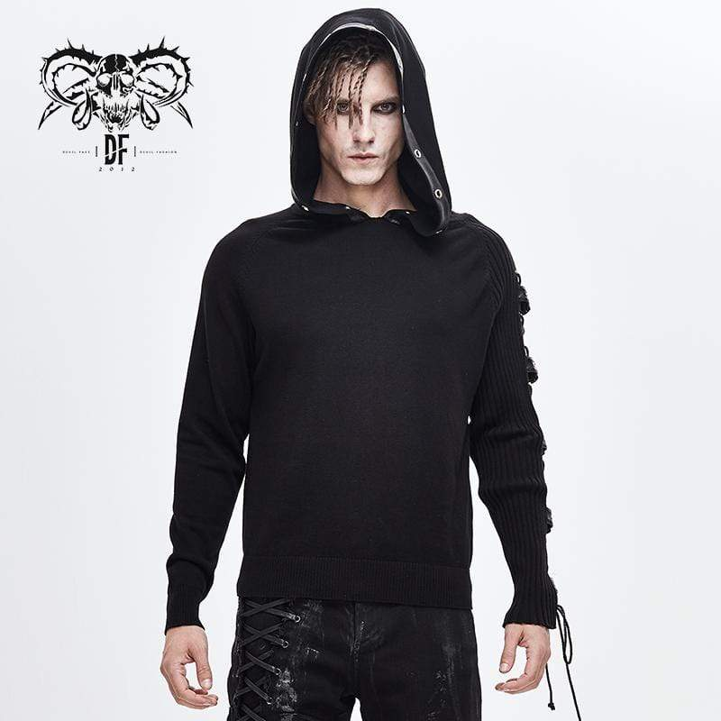 DEVILFASHION Men's Lace-up Belts Spliced Sweaters&Hoodies