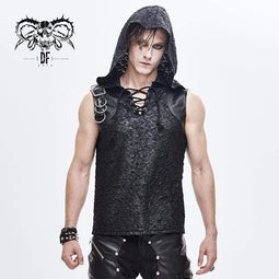 DEVILFASHION Men's Lace-up Hoodied Cracks Faux Leather Vests