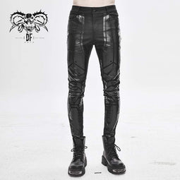 DEVILFASHION Men's PU Spliced Stripes Skinny Trousers