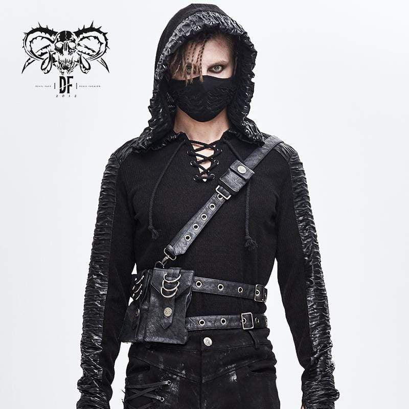 DEVILFASHION Men's Punk Eyelets Body Harnesses With Two Pockets