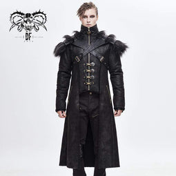 DEVILFASHION Men's Punk Fur Shoulder Winter Coats