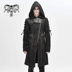 DEVILFASHION Men's Punk Hooded Zipper Lace-up Winter Coats