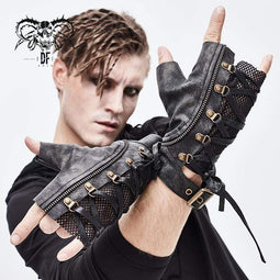 DEVILFASHION Men's Punk Lace-up Mesh Faux Leather Half Gloves