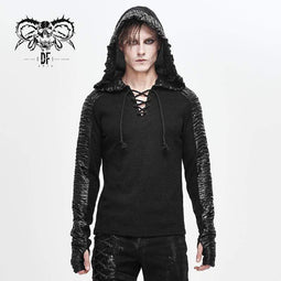 DEVILFASHION Men's Punk Lace-up Winkles Spliced Hoodies