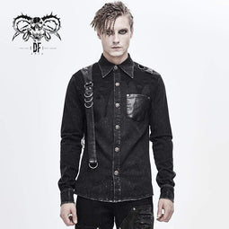 DEVILFASHION Men's Punk Mesh Applique Harness Denim Shirts