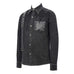 DEVILFASHION Herren Punk Mesh Applique Harness Denim Shirts