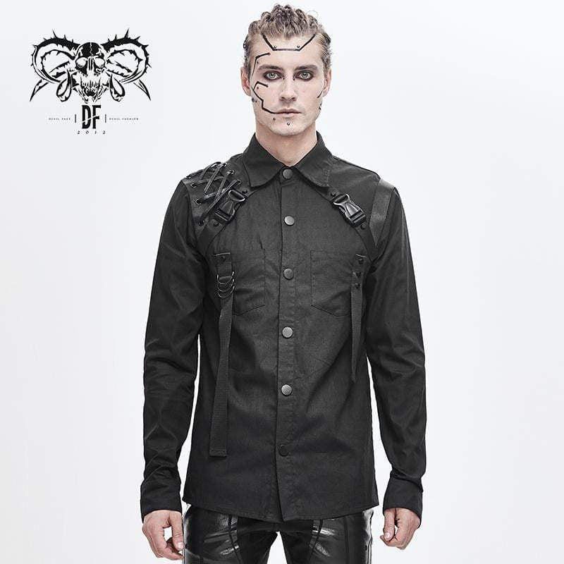 DEVILFASHION Men's Punk Ropes Buckle Belts Shirts