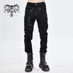 DEVILFASHION Men's Punk Ropes Tattered Trousers