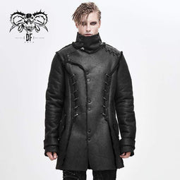 DEVILFASHION Men's Punk Stand Collar Ropes Winter Coats