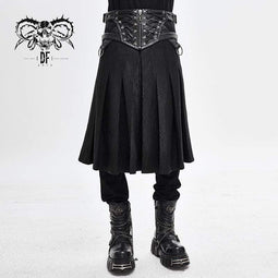 DEVILFASHION Męski Punk Vintage Cracks Liny Pasek Kilts