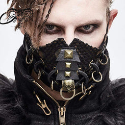 DEVILFASHION Men's Rings Rivets Mesh Applique Masks