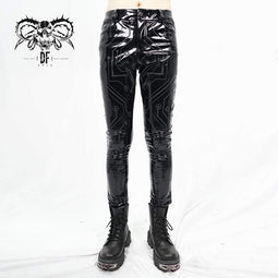 DEVILFASHION Men's Sexy Lines PU Skinny Pants