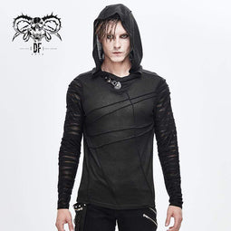 DEVILFASHION Men's Sheer Gauze Sleeved Fitted Hoodies
