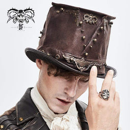 DEVILFASHION Men's Steampunk Devil Skull Metal Rivets Hats