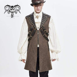 DEVILFASHION Men's Steampunk Faux Leather Shoulder Belts Stripe Long Waistcoats