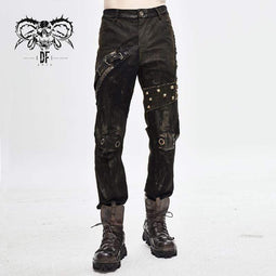 DEVILFASHION Men's Steampunk Mesh Rivets Eyelets Casual Trousers