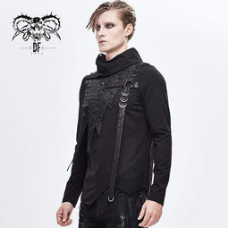 DEVILFASHION Men's Turtle Neck Faux Leather Applique Belt Tops
