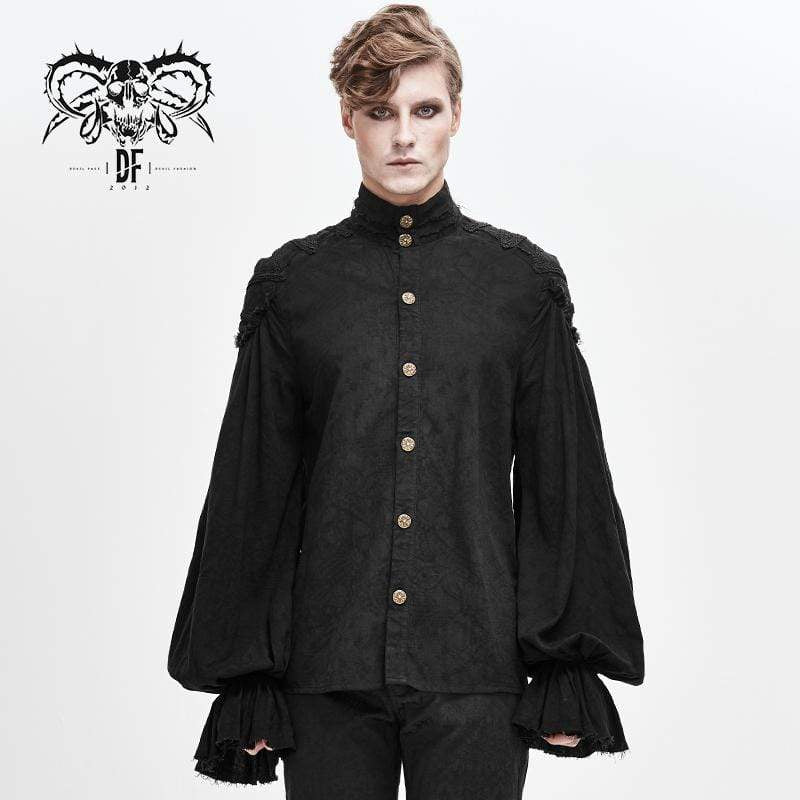 DEVILFASHION Men's Vintage Gorgeous Rococo Puff Sleeved Ruffles Shirts
