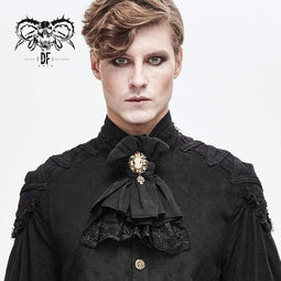 DEVILFASHION Homme Vintage Lace Edge Pandent Black Bowties