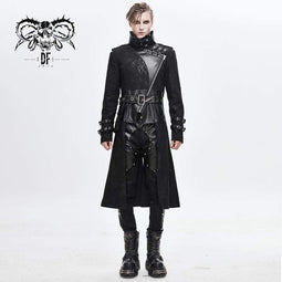 DEVILFASHION Men's Vintage Stand Collar Faux Leather Spliced Long Coats