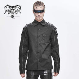 DEVILFASHION Men's Zippers Rivets Spliced Shirts