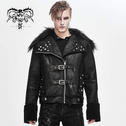DEVINFASHION Men's Fur Turn-down Collar Belts Rivets Winter Jackets