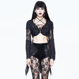 Women's Asymmetric Goth Embroidered Top-Punk Design