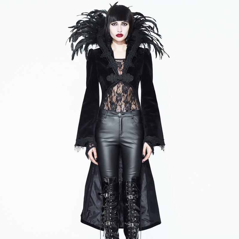 Women's Feathered Collar Gothic Tailcoat-Punk Design