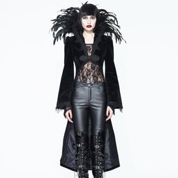 EVA LADY Women's Feathered Collar Gothic Tailcoat