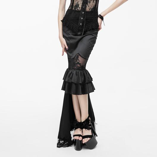 Women's Frilled Goth Skirt With Lace Train-Punk Design