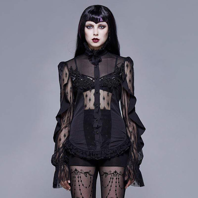 EVA LADY Women's Goth Floral Lace Sheer Shirt