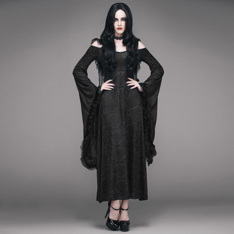 Women's Goth Jacquard Hooded Dress-Punk Design