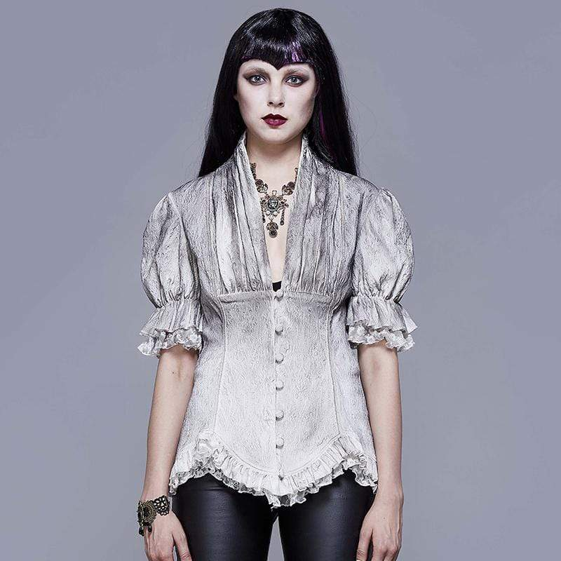 EVA LADY Women's Goth V-neck Single-breasted Lace Puff Sleeved Shirt