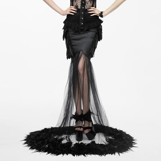 Women's Gothic Feathered Mermaid Skirt-Punk Design