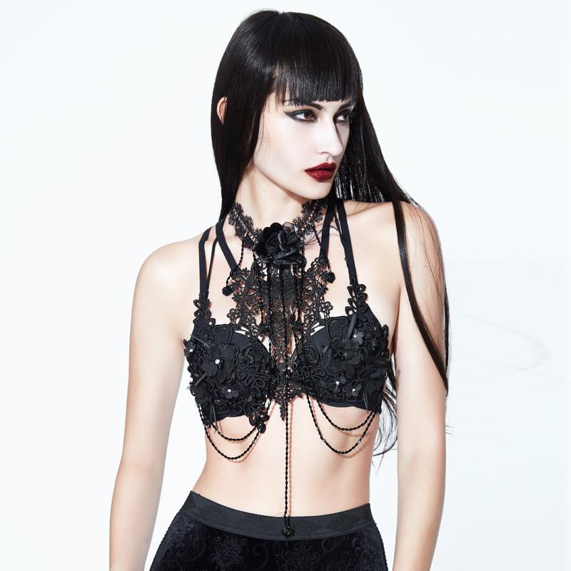 Damen Gothic Flower & Lace Harness-Punk Design
