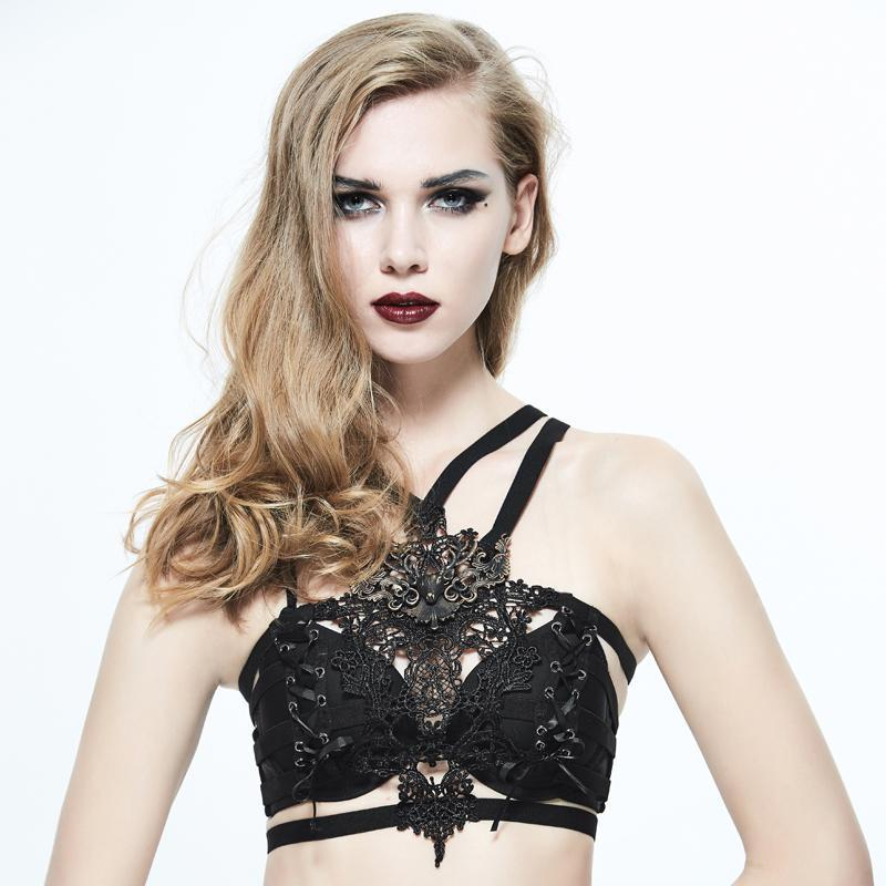 Damen Gothic Lace Brustgeschirr mit Metall Brosche-Punk-Design