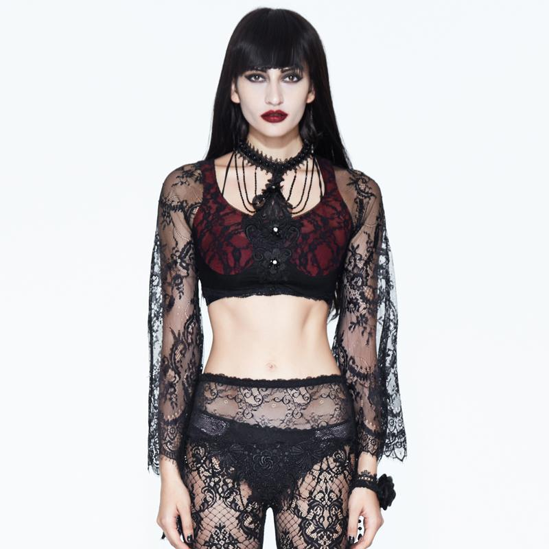 Damen Gothic Lace Full-Sleeve Top-Punk-Design