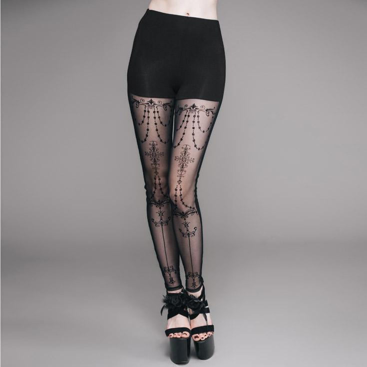 Women's Lacey Goth Punk Leggings-Punk Design
