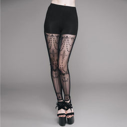 Damen Lacey Goth Punk Leggings-Punk Design